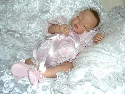 Romper  Victorian For Reborn/baby Pink Rambling Roses -- Size 0-3 Mth