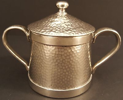Vintage-Cecilware-Silver Plate-Hammered Finish-Metal Sugar Bowl with Lid c. 1929