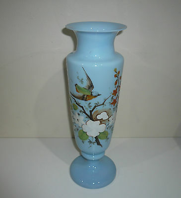 Antique Victorian Art Glass Vase With Hand Painted Bird & Floral Design