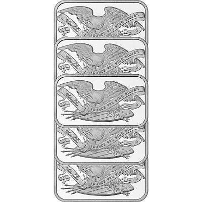Retro SilverTowne Eagle & Shield 1oz .999 Silver Bar-5 pc