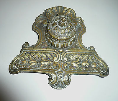 Antique Ornate Cast Brass Ink Well Stand
