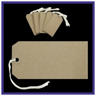 Strung  Reinforced Tags Luggage Labels Tag String Tie On Gift Buff Brown Manilla