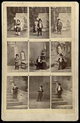 P.t. Barnum's El Dorado Elf Admiral Dot 9 Different Costumes Rare Cabinet Photo