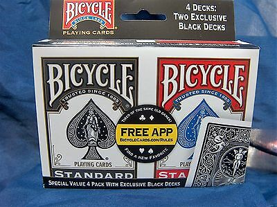 Bicycle Playing Cards Poker Casino Magic Decks. ***Special Value 4 Pack***. New.