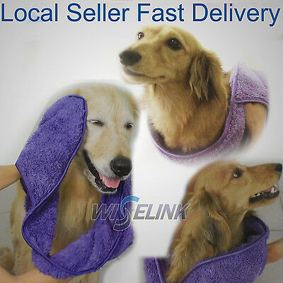 Pet Dog Cat Super Microfiber Soft Absorption Grooming Towel Easy Quickly Squeeze
