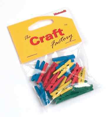 Wooden Coloured Clothes Pegs - 25mm - 25 Per Pack