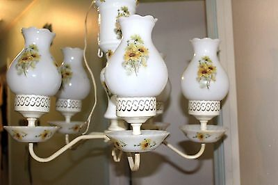 VINTAGE Chandelier 5 Arm Daisy  MILK GLASS CEILING LIGHT  Farmhouse