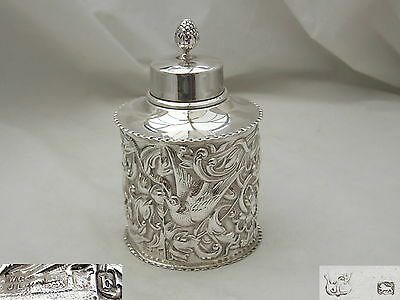 Rare Victorian Hm Sterling Silver Embossed Tea Caddy 1897