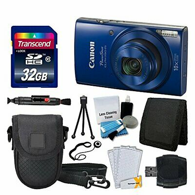 Canon PowerShot ELPH 190 IS Digital Camera (Blue) Great Value Accessory Bundle