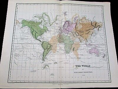 World map scarce 1852 Gall & Inglis antique large map New Holland Capt. Cook