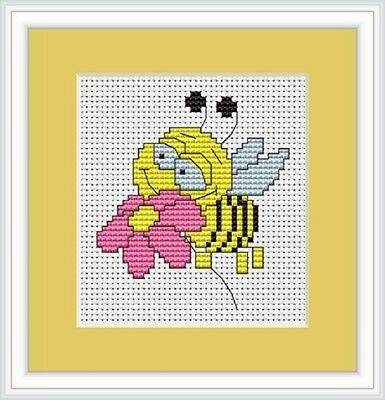 BEE & PINK FLOWER Cross Stitch Kit from LUCA-S