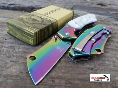 "8"" TACTICAL Spring Assisted Open Pocket Knife CLEAVER RAZOR Rainbow/ Pearl Inlay"
