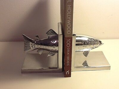Beautiful and unusual Bookends, Salmon Head & Tail, Silver plated