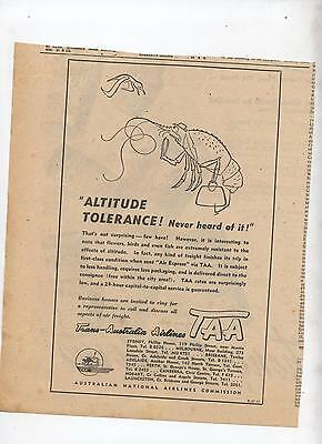 TAA Advertisement removed from 1947 Newspaper Air Plane Trans Australia Airline