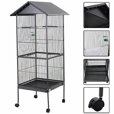 """New 61"""" Large Parrot Bird Cage Play Top Pet Supplies Perch Stand Two Doors Iron"""