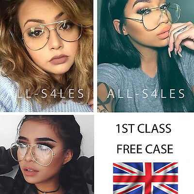 Geeky Retro Aviator Oversized Clear Lens Sunglasses Silver Gold Metal Frame UK
