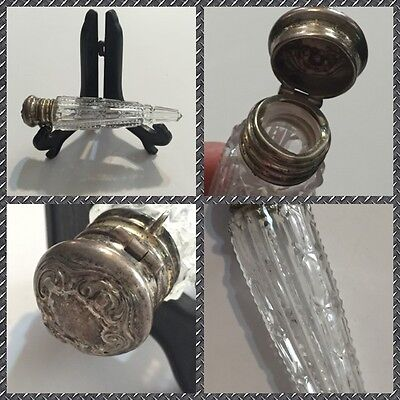 Victorian Laydown Cut Glass Sterling Top Repousse Scent Bottle