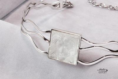 Lalique Masque De Femme Frosted Cyrstal 925 Ster. Silver Necklace Choker Pendant
