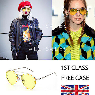 New Geeky Retro Aviator Yellow Lens Glasses Silver Metal Frame 1st class UK