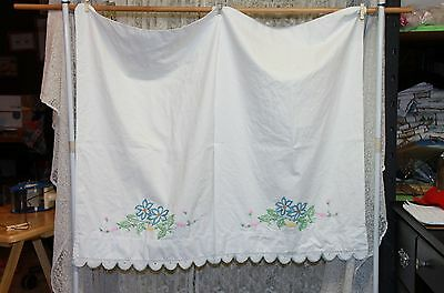 Vintage Hand Embroidered and Crocheted Pillow Cases Blue Flowers