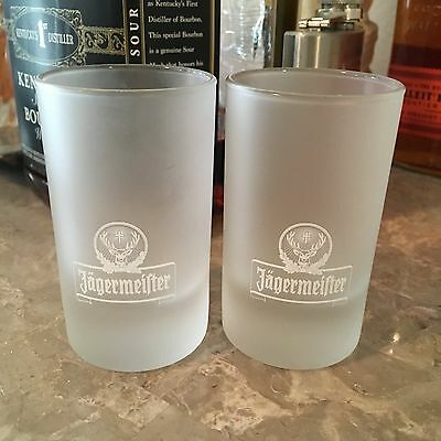 Jagermeifter Double Frosted Shot Glass with Measurements Set of 2