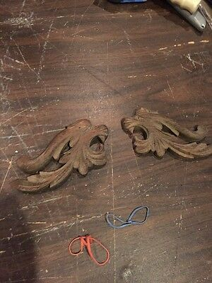 F 31 Matched Pair Antique Griffin Face Carved Oak