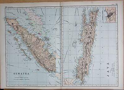 1890 Large Victorian Map - Sumatra, Java, 2 Images