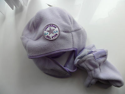 BNWT Baby Girls Converse Hat All Star Infants Hat and Gloves Set Lilac
