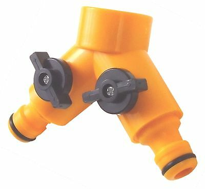 "Garden Tap Adapter DUO 2 WAY DOUBLE Outside & Hose Connectors 3/4"" splitter"