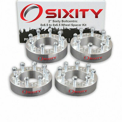 """(4) 2"""" 8 Lug Silver Wheel Spacers 8x6.5 for Dodge Ram 2500 3500 Ford 9/16"""" Studs"""