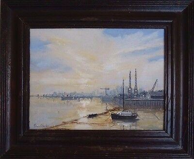 Vintage Oil on Board Framed Painting Picture London Sunrise John Clarke Docks