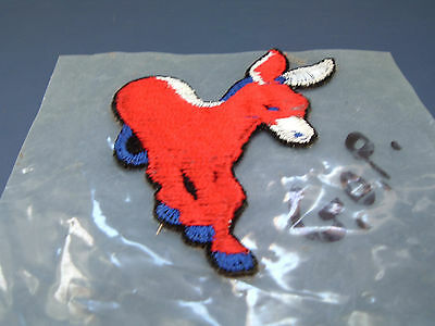Vintage democratic donkey applique patch iron on red with blue and white trim