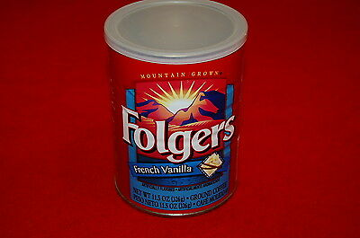 VINTAGE FOLGER'S Coffee Can 11.5 oz coffee tin French Vanilla