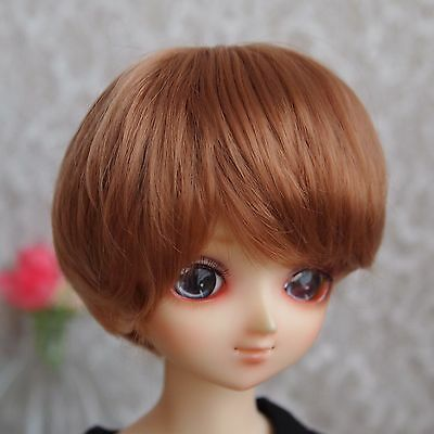 """7-8"""" Gold Brown Synthetic Mohair Wig for 1/4 MSD Doll BJD Girl Boy Dollfie"""