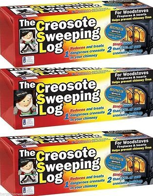 CSL Creosote Chimney Fireplace Cleaning Sweeping Log safety 3 pack no box