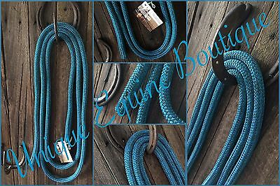 12ft Mottled Blue~Green Rope Reins 12mm No Clips Horse Pony Turquoise BNWT