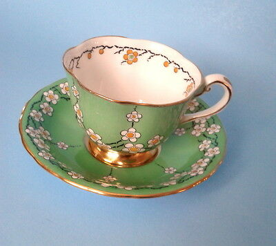 RARE c.1930s NEW CHELSEA STAFFS MAYTIME Teacup Green White Tea Cup & Saucer