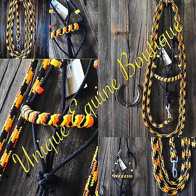BNWT Horse Size Rope Halter With 8ft Lead ~ Horse Gear Tack Horsemanship
