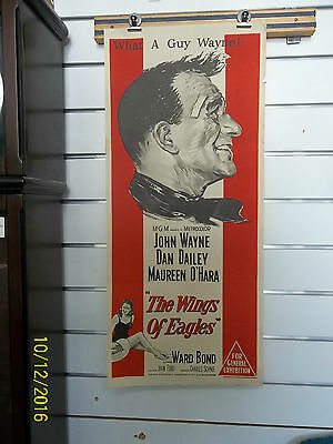 "GENUINE  VINTAGE DAYBILL POSTER  JOHN WAYNE in ""  THE WINGS OF EAGLES   """
