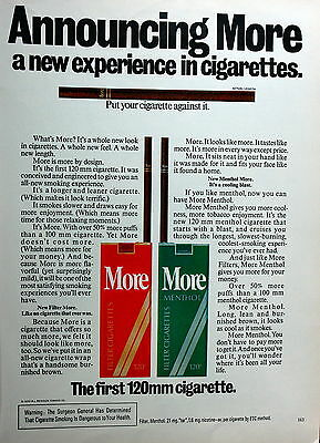 Playboy Ad May 1975 Issue Full Page 8.5 X 11 More Menthol Filter Cigarettes 0575
