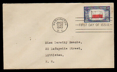 Us Stamp Fdc - 5¢ Flag Of Poland - 1943 First Day Cover