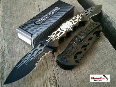 "NEW 12"" TACTICAL Spring Assisted SKULL Pocket Knife DOUBLE BLADE Folding FANTASY"