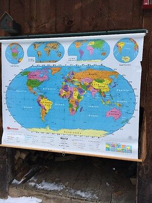Nystrom 1NS99 - WORLD MAP Home School classroom markable PULL-DOWN Great Shape