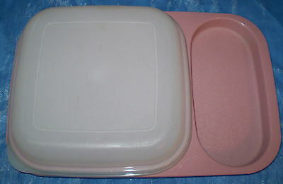 Tupperware Meal Mate Divided Lunch Tray Plate Lid Set Mauve