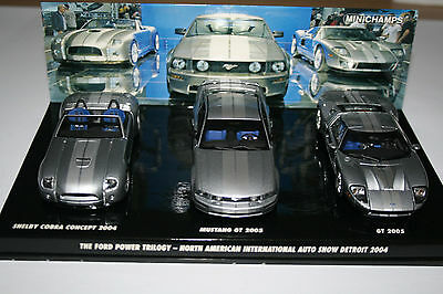1/43 Minichamps Ford Power Trilogy Mustang / GT and Shelby Concept 2004 Detroit