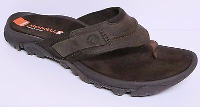 """Merrell Telluride Men's Thong Toe Leather Flip Flop Sandals Brown """"clay""""  J71119"""