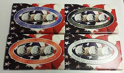 Lot of 4x 2000 USA State Quarter 5 coin Sets D P Gold Platium Edition Colletion
