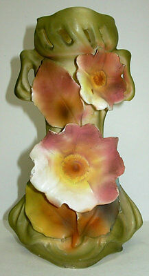 Antique Royal Dux Porcelain Art Nouveau Vase, Reticulated & Applied Flowers