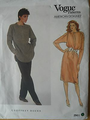 Vogue Sewing Pattern-Misses' TOP-DRESS-PANTS-Size: 10-Geoffrey Beene Designer