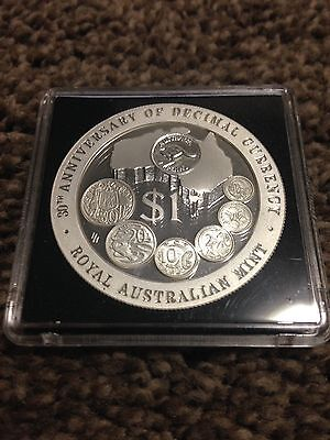 1996 Australia Decimal Currency 30th Anniversary Proof 1oz .999 Silver $1 Coin